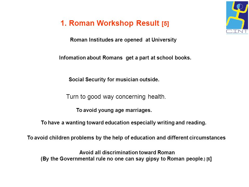 1. Roman Workshop Result [5]
